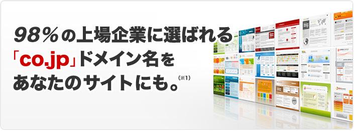 97%の上場企業に選ばれる「co.jp」ドメイン名をあなたのサイトにも ※1